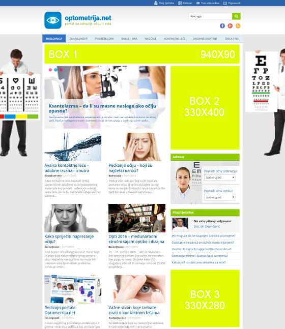 optometrija net, marketing, banneri, oglašavanje